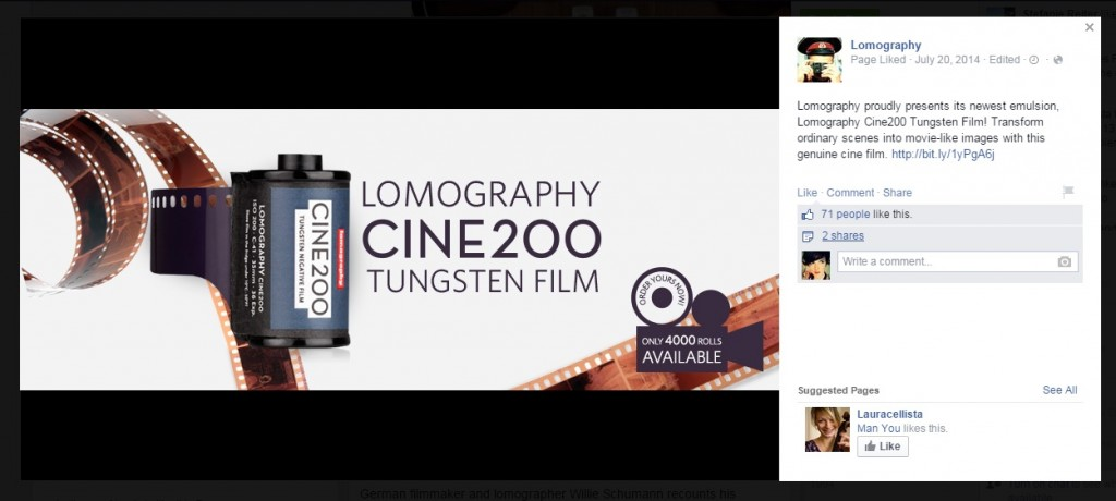 Lomography Promotes Product: Tungsten Film