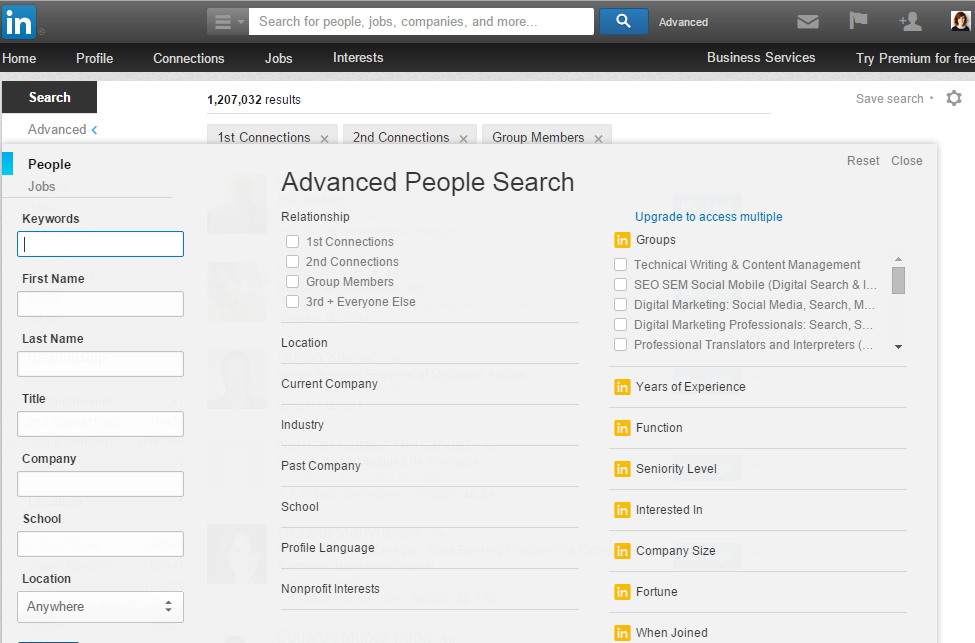 Advanced Search is not gone in the new LinkedIn interface!