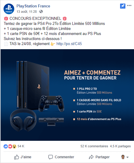 Concours Facebook Playstation