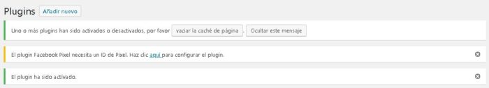 Plugin de wordpress facebook activado exitosamente